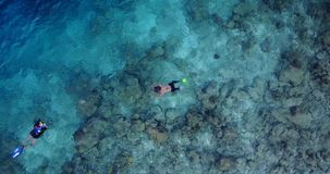 V11876 many people young boys girls snorkeling over coral reef with drone aerial flying view in crystal clear aqua blue. Many people young boys girls snorkeling stock images