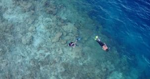 V11902 many people young boys girls snorkeling over coral reef with drone aerial flying view in crystal clear aqua blue. Many people young boys girls snorkeling royalty free stock images