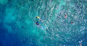 V11858 many people young boys girls snorkeling over coral reef with drone aerial flying view in crystal clear aqua blue. Many people young boys girls snorkeling stock photography