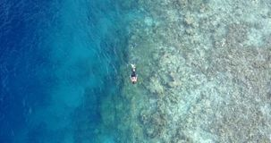 V11795 many people young boys girls snorkeling over coral reef with drone aerial flying view in crystal clear aqua blue. Many people young boys girls snorkeling stock images