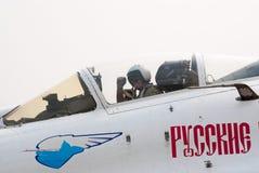 V. Melnik in cockpit su-27 Stock Foto