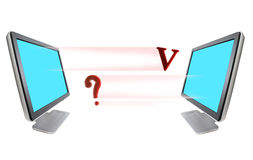 ?  V and  monitor Stock Image