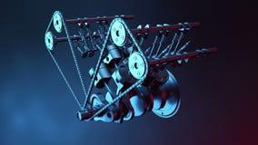 V6 motor binnen, animatie in motie, zuigers, nokkenas, ketting, kleppen en andere mechanische gedeeltenauto Illustratie van royalty-vrije illustratie