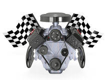 V8 motor med flaggor royaltyfri illustrationer