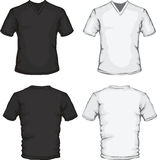 V-neck shirt template. Vector illustration of v-neck shirt template in black and white, front and back design Stock Photography