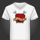 V neck shirt template with heart piersed by arrows Stock Image