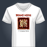 V neck shirt template with human brain inside main Stock Photo