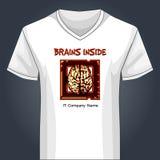 V neck shirt template with human brain inside main Stock Photo