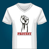 V neck Shirt Template with Protest Fist Royalty Free Stock Images