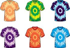 V-neck Tie Dye Shirts. A series of v-neck tie dye t-shirts Royalty Free Stock Photography