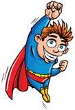 Vôo bonito de Superboy dos desenhos animados acima Fotografia de Stock Royalty Free
