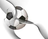 Vôo da esfera de futebol Imagem de Stock