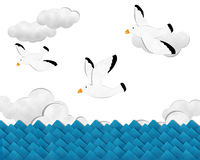 Vôo da gaivota sobre o mar Imagens de Stock
