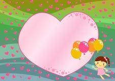 Vôo da menina com os balões entre corações Fotos de Stock