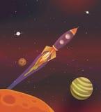 Vôo da nave espacial dos desenhos animados na galáxia Foto de Stock Royalty Free