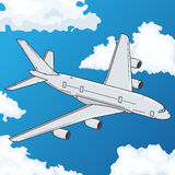 Vôo do avião no céu azul Ilustração do vetor Imagem de Stock Royalty Free