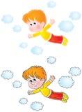 Vôo do menino nos sonhos Foto de Stock