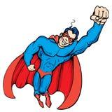 Vôo mascarado desenhos animados do super-herói acima Imagens de Stock Royalty Free
