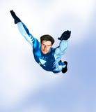 Vôo masculino do super-herói Fotografia de Stock