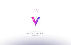 v pink modern creative alphabet letter logo icon template Royalty Free Stock Photography