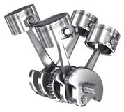 V4 pistons and cog isolated. On white Stock Image