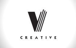V progettazione di Logo Letter With Black Lines Linea vettore Illust della lettera Fotografie Stock