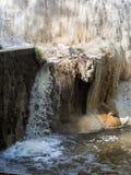 V?r av termiskt vatten av Bagni san filippo i Val D ` Orcia, Tuscany, Italien royaltyfri fotografi