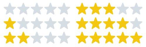 V?rderingsstj?rnasymboler Stjärnahastigheter, återkopplingsvärderingar och hastighetsgranskning För vektorillustration för fem st stock illustrationer