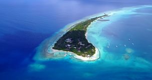 V12941 resort in maldives white sand beach tropical islands with drone aerial flying birds eye view with aqua blue sea. Resort in maldives white sand beach stock footage