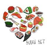 V?rio sushi desenhado ? m?o o vetor ajustou todos os elementos ? isolado ilustração royalty free