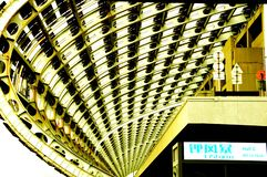 V?rldens st?rsta m?sshall, byggnad, Guangzhou Pazhou internationell utst?llningmitt fotografering för bildbyråer