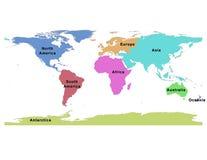 V?rldskarta av kontinent-global ?versikt ?tta vektor illustrationer