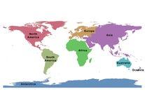 V?rldskarta av kontinent-global ?versikt ?tta royaltyfri illustrationer