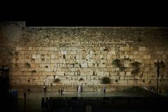 V on sabbath at night, Jerusalem. A spectacular view on The Western Wall on sabbath at night Stock Photo