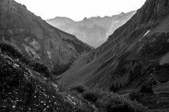 V Shaped Glacier Carved Colorado Deep Heart Valley. Steep Slopes Glacier Carved Valley after V shaped Valley. Erosion and up lift helped make colorado have some Royalty Free Stock Photography
