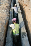 V-shaped trench drain at the construction site Stock Photos