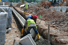V-shaped trench drain at the construction site Royalty Free Stock Photo
