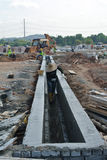 V-shaped trench drain at the construction site Royalty Free Stock Photography