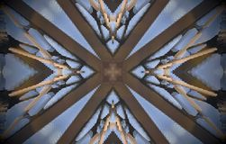 V shapes around cross metal structure extruded mandala. Abstract of metal structure with V shapes around a cross in the middle. Blue, white, brown. Small squares Stock Photography