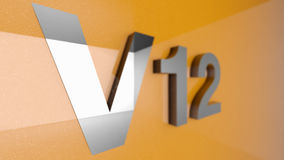 V12 sign. 3d illustration of a silver v12 sign Stock Photography