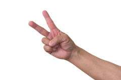 V Sign. V hand sign sign by middle aged Japanese man Royalty Free Stock Photo