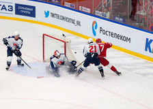 V. Solodukhin (17) attack, M. Osipov (21) defend Stock Image