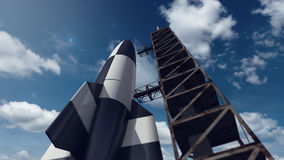 V2 space rocket ready for take off. A 3D rendered image of a V2 space rocket shuttle. A close up of a detailed futuristic aircraft Stock Photography