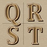 V?stra vektor f?r tappning f?r alfabetdesignbokst?ver arkivfoto