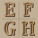 V?stra vektor f?r tappning f?r alfabetdesignbokst?ver arkivfoton