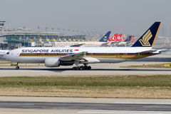 9V-SVL Singapore Airlines, Boeing 777-212/ER Fotos de archivo libres de regalías