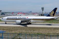 9V-SVM Singapore Airlines, Boeing 777-212/ER Fotografia de Stock Royalty Free