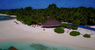V12842 swimming pool in maldives hotel resort with white sand beach tropical islands with drone aerial flying birds eye Stock Photos