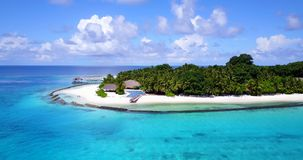 V12847 swimming pool in maldives hotel resort with white sand beach tropical islands with drone aerial flying birds eye Royalty Free Stock Photo