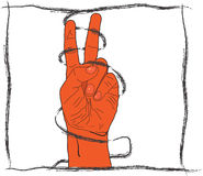 V - symbols. Symbol two. v - a hand signal Royalty Free Stock Photography